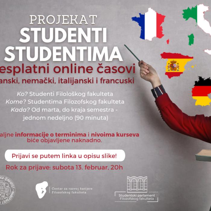 Studenti studentima – online časovi jezika