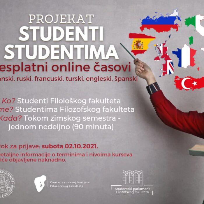 Studenti studentima – Prijavi se za besplatne časove jezika